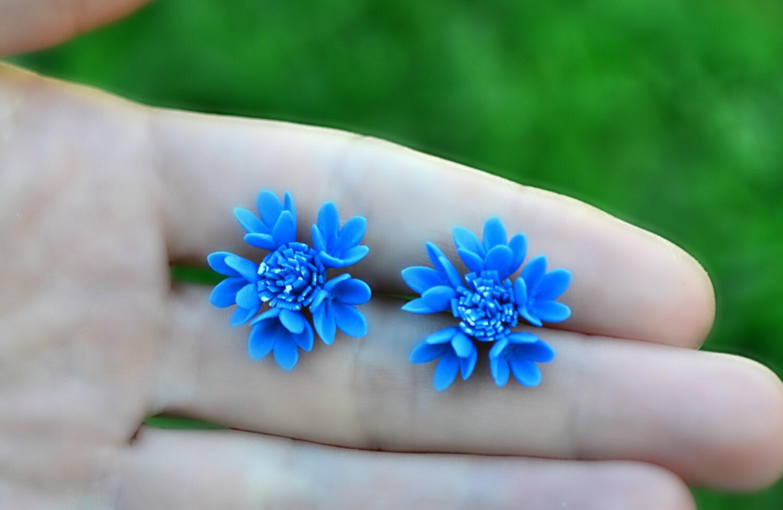 Cornflower Bluet Stud Earrings Blue Flower Floral Studs Stud Etsy