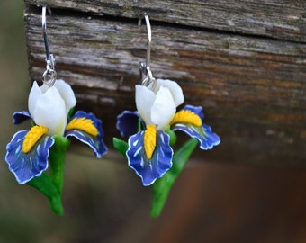 Earrings irises. White blue purple violet irises earrings necklace jewelry. Spring clay flowers earrings necklace. iris necklace jewelry.