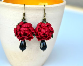 Marsala evening earrings necklace Christmas gift marsala red flower earrings Crimson Red marsala long earrings Polymer clay flower earrings