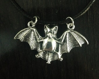 Silver Bat Necklace Sterling Silver Alloy Plated Witch Goth Pagan Wicca