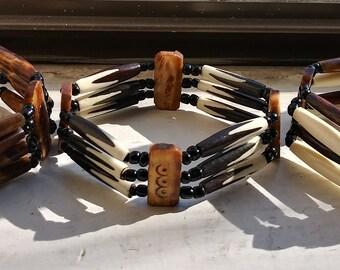 Recycled Bone Stretch BraceletsAfrican Bone Stretch BraceletsHand-carved Bone BraceletsBeaded BraceletsEco-friendly Beaded Bracelets