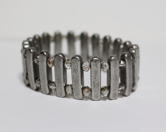 Metal and Crystal Cuff Bracelet