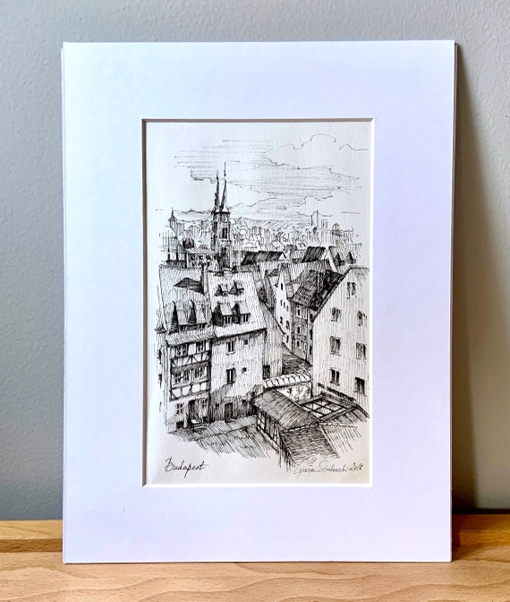 Black And White Architecture Drawing Print Ink Drawing Of Etsy