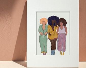Girlfriends Art Print   Illustrated Melanin   Digital Download   Black Woman Art Print   Black Girl Magic