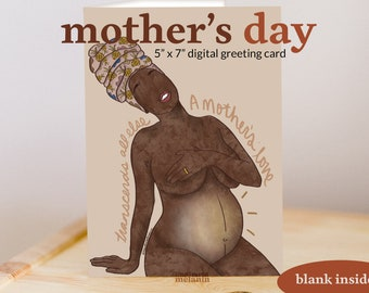 New Mom   Mama to be   Mother's Day   Black Woman   Digital Greeting Card   Illustrated Melanin