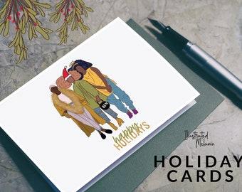 Black Holiday Greeting Card   Christmas Gift   Brown Woman Art   Girlfriends   Illustrated Melanin