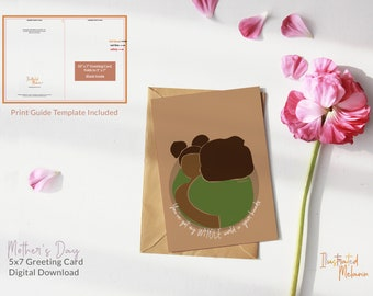 New Mom 5 x 7 Card   Digital Download   Greeting Cards   Motherly Love   Illustrated Melanin