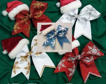 holiday santa hat christmas cheer bow cheer bows christmas cheer bows
