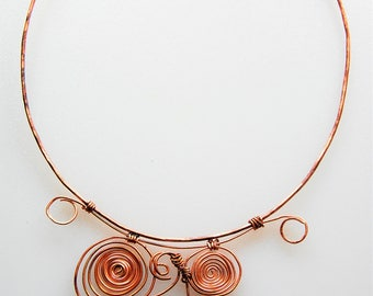 Copper Hammered, Wire-Wrapped Spiral Necklace