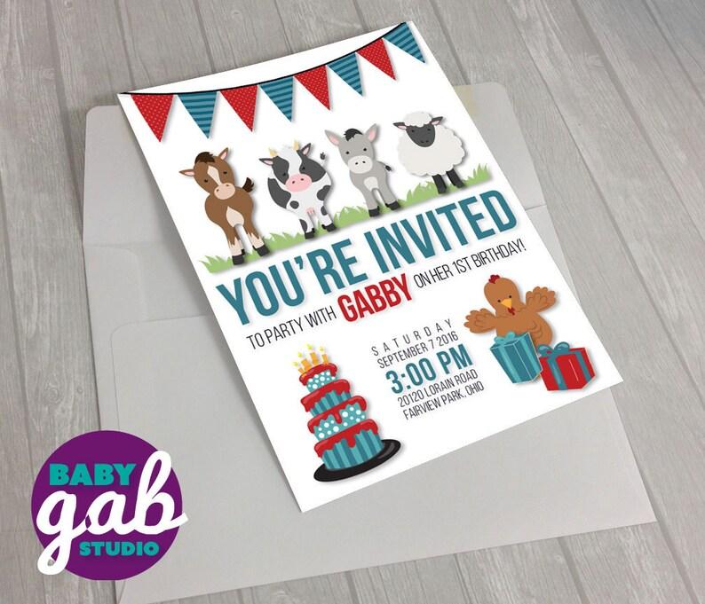 Farm Animals Birthday Kit Banner Custom Kids Birthday Invites Poster /& Cupcake Wrappers