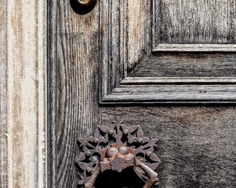 """Door Photography, Architectural Detail, Weathered wood, Rusty Hardwaredecor, Vintage, Antique, Fine Art Photography, """"Weathered Door"""""""