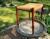 Midcentury teak and papercord bench by Niels Moller made in Denmark