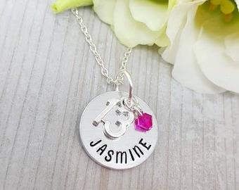 13th Birthday Gift, Teenage Girl Jewelery, Thirteen Jewellery, Girls Personalized Necklace, Custom Present for Teen, Handstamped Jewelry