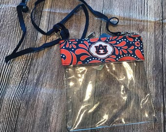 Auburn Personalized Clear Cross-body Game Day Stadium Approved Tote