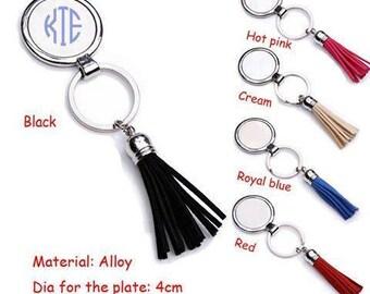 Monogramed Tassel Key Chain
