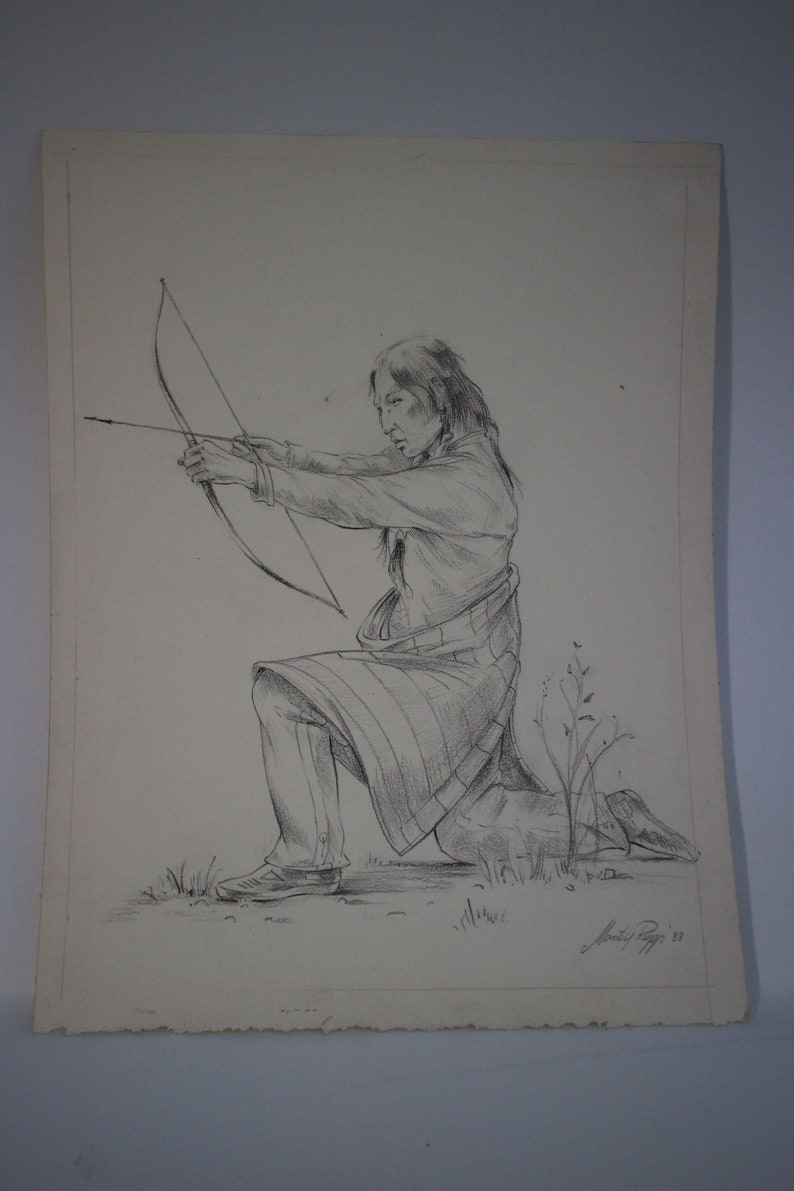 Original Pencil Drawing Sketch Native Indian Bow Arrow Manfred Rapp 1988