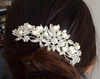 Pearl Bridal Comb, Floral Wedding Comb, Bridal Hair Comb, Wedding Hair Accessory, Crystal Hair Comb, Pearl Comb, Bridal Headpiece - Lovely
