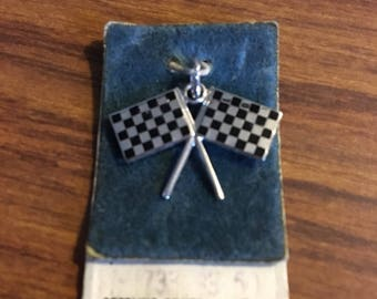 Sterling silver enameled checkered flag