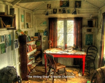 """Dylan Thomas """"The Writing Shed"""" Signed Limited Edition Mounted Print"""