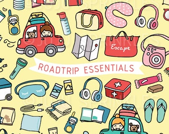 Roadtrip Clipart, Vacation Clipart, Driving Clipart, Traveling Clipart, Travel Illustrations, Roadtrip Stickers, Instant Download, Daytrip