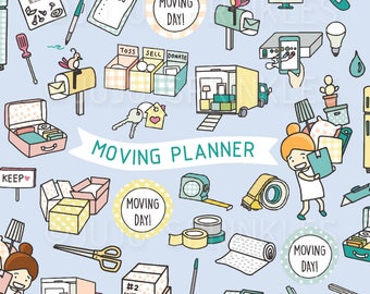Moving Clipart, Move Day Clipart, Moving Away Clipart, Moving Boxes Clipart, Moving Planner, Moving Stickers, Instant Download, Packing