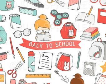Back To School Clipart, Classroom Clipart, School Clipart, Planner Clipart, School Stickers, Instant Download, Planner Stickers