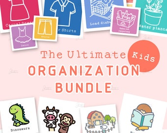 Ultimate Kids Organization Bundle | Kids Chore Chart Labels + Activity Cards & Calendar + Toy Organization Labels + Kids Clothes Organizers