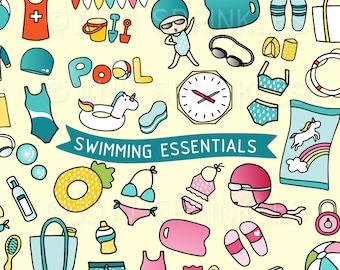 Swimming Clipart, Swimming Pool Clipart, Beach Clipart, Swimming Illustrations, Swimming Stickers, Instant Download, Bikini Clipart