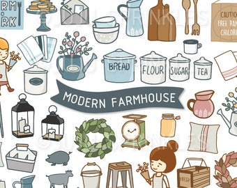 Digital Clipart, Modern Farmhouse Clipart, Farmhouse Clipart, Farmhouse Illustrations, Planner Stickers, Instant Download PNG
