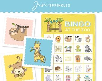 Animal Bingo Printable Party Game   Zoo Bingo   Animal Flashcards   Matching Game + Flashcards   Digital Download PDF