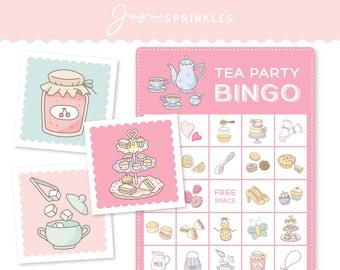 Tea Party Bingo Printable Party Game   Tea Party Flashcards   Tea Party Matching Game   Bridal Shower Bingo   Digital Download PDF