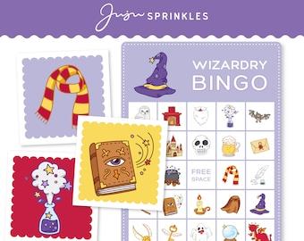 Wizard Bingo   Wizard Printable Party Game   Harry Potter Bingo   Wizard Matching Game   Halloween Bingo   Flashcards   Digital Download PDF