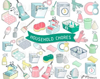 Housework Clipart, Cleaning Clipart, Organiser Clipart, Household Clipart, Chores Stickers, Instant Download, Clean Clipart, Chore Clipart