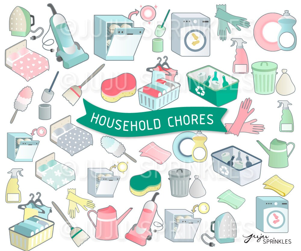 housework clipart cleaning clipart organiser clipart | etsy