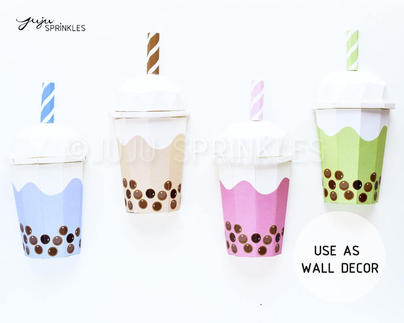 Bubble Tea Origami  Bubble Tea Wall Art  Boba Tea Paper 3D image 0