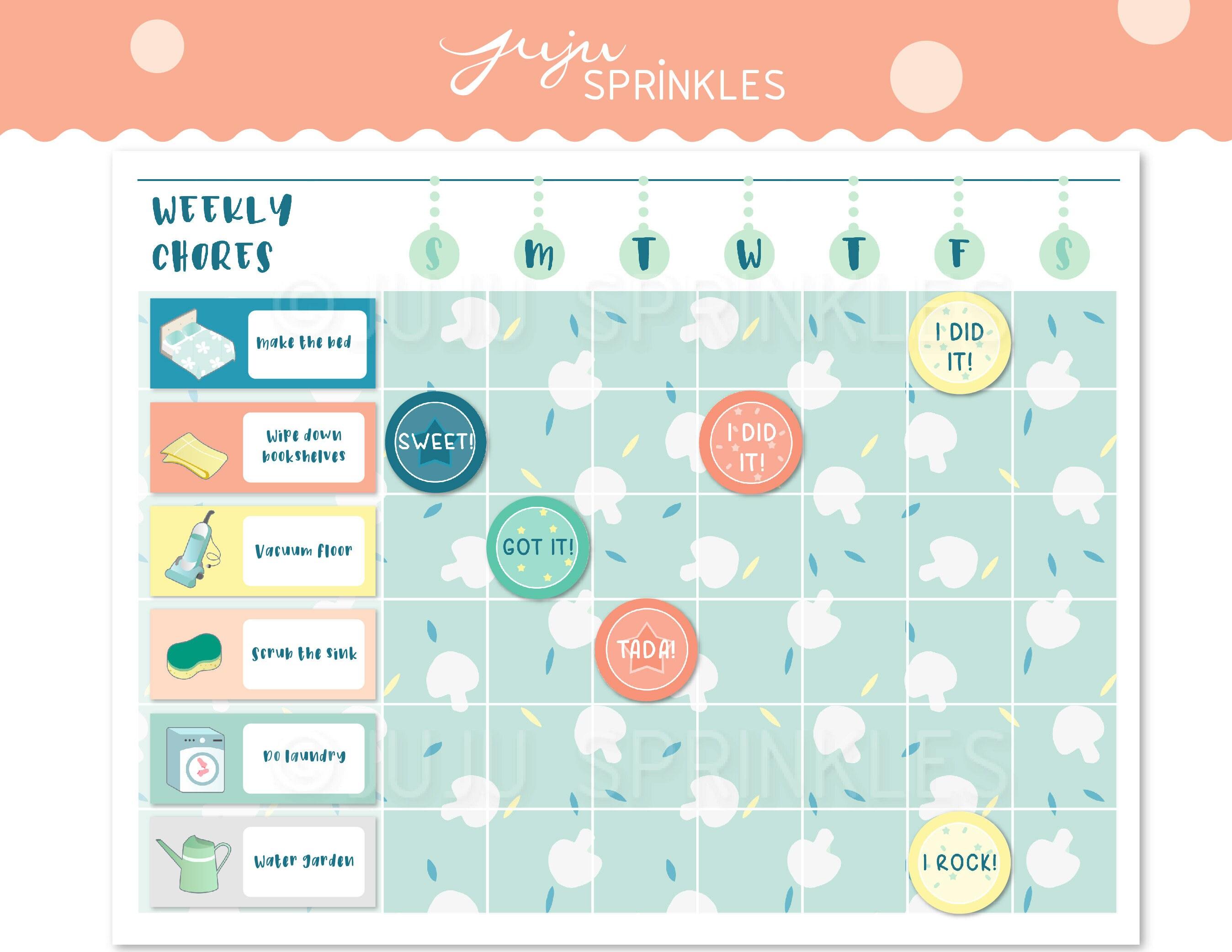 image regarding Printable Kids Chore Chart identified as Printable Chore Chart, Printable Little ones Chore Chart, Printable Cleansing Chart, Printable Chore Stickers, Housechore Stickers, Prompt Obtain