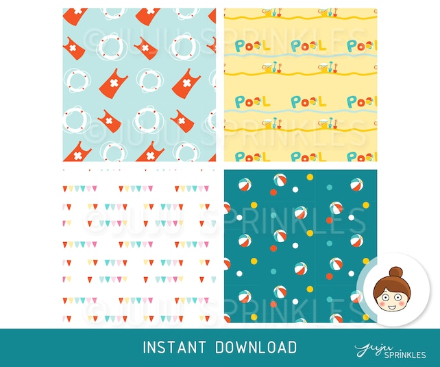 Swimming Digital Paper Swimming Clipart Swimming Patterns Etsy
