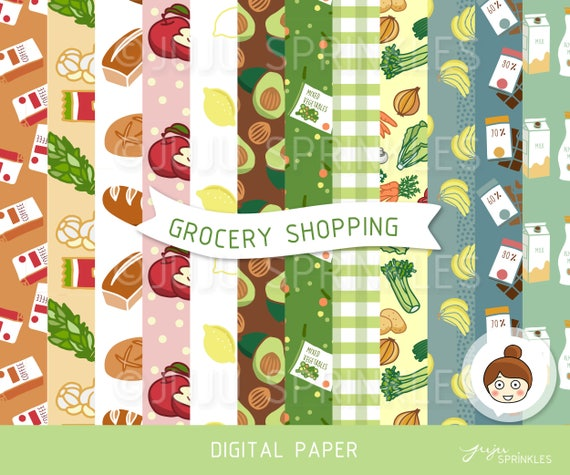 Grocery Clipart Grocery Seamless Digital Pattern Vegetable Etsy