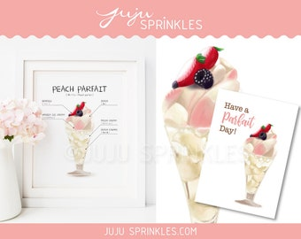 Ice Cream Printable, Parfait, Peach Momo Printable, Kantaro The Sweet Tooth Salaryman, Momo Prints, Fruits Printable, Instant Download