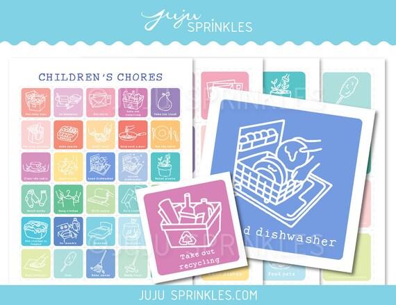 Kids Chore Chart Printable Chore Labels For Kids Children Etsy