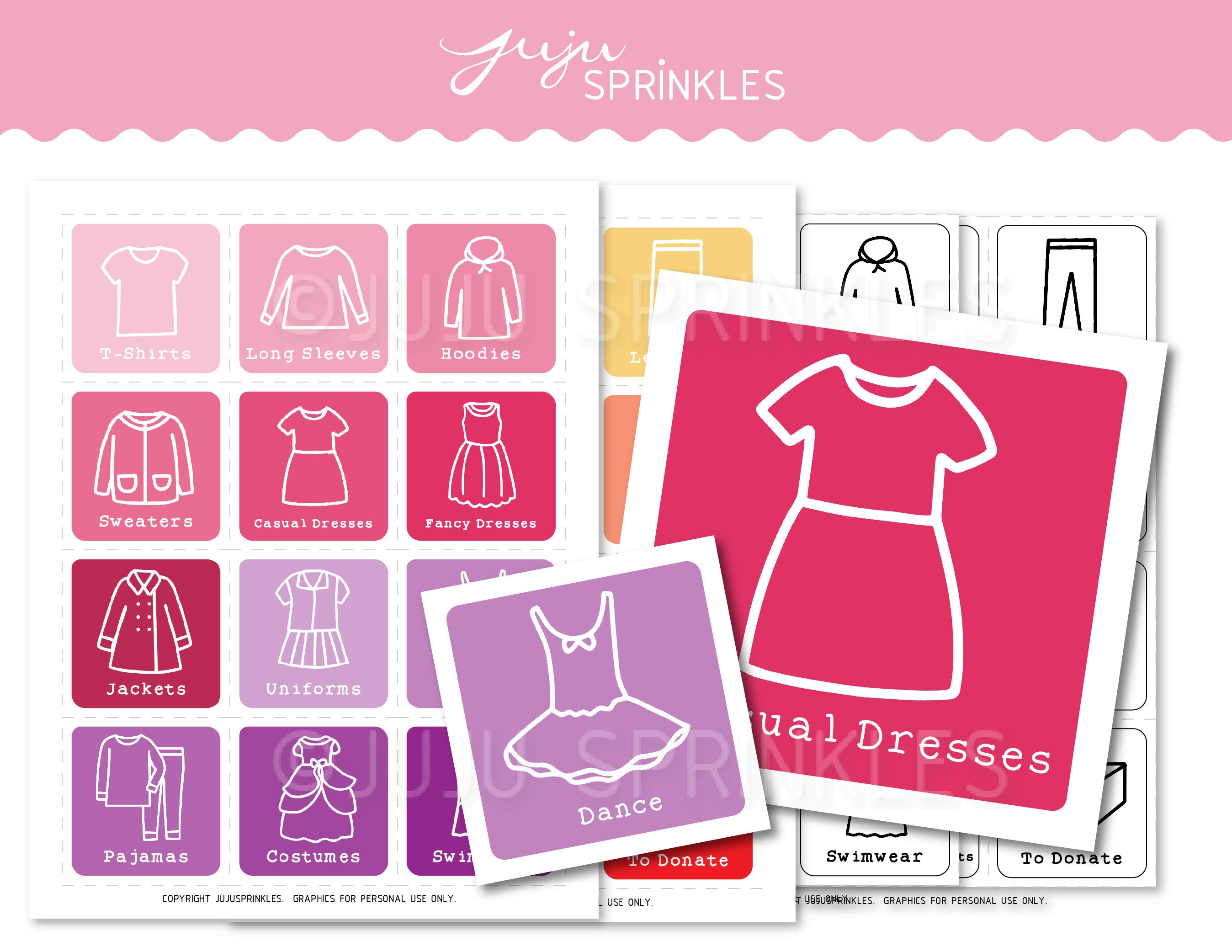 image relating to Printable Clothing Labels titled Young children Apparel Closet Organizers Printable Woman Clothes Labels Konmari Labels Kids Drawer Enterprise Labels Storage Coloring Internet pages