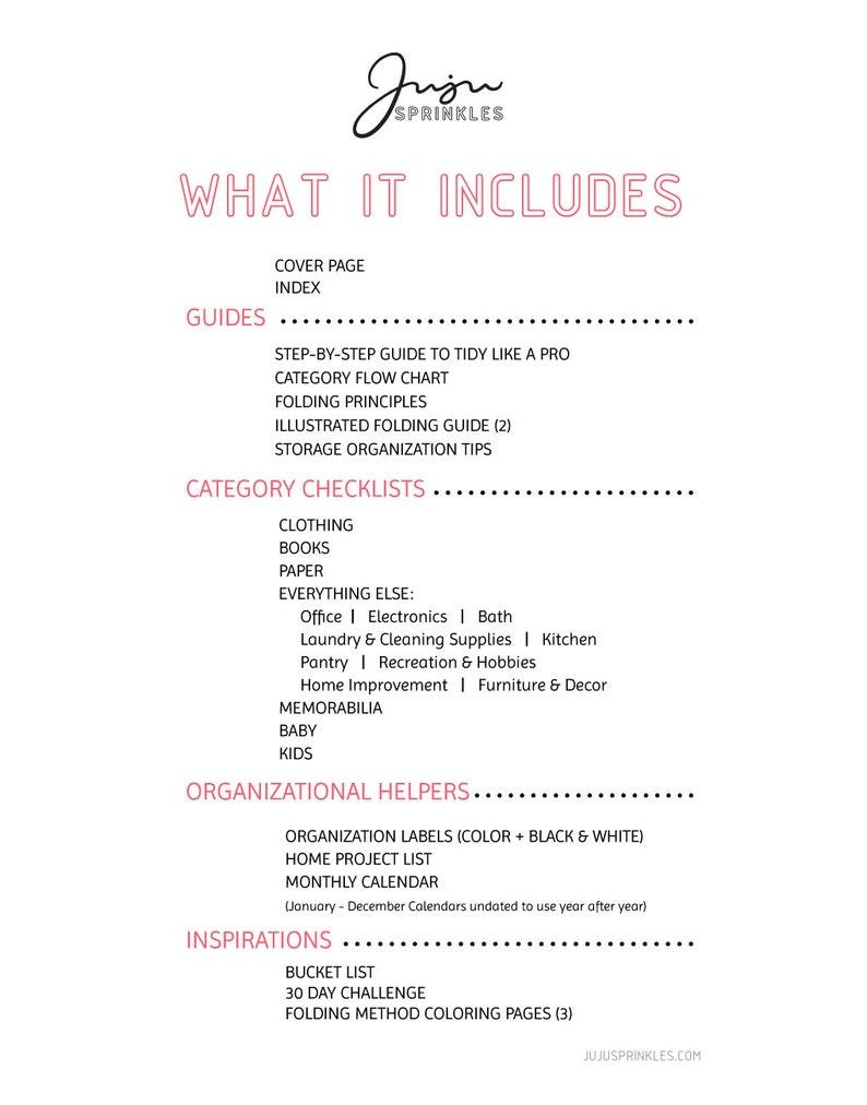 Tidy-Like-A-Pro Printable Kit, Konmari Supplement, Declutter Kit, Digital,  Organization Guide