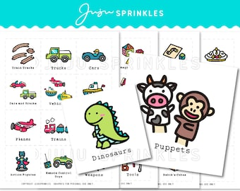 Toy Organization Labels | Printable Toy Storage Labels | Children's Room Labels | Toy Labels with Pictures