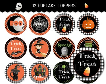 Halloween Cupcake Toppers Printable, Halloween Party Printable, Halloween Kids Party Decoration, Halloween Favor Tags, Witch Cupcake Toppers