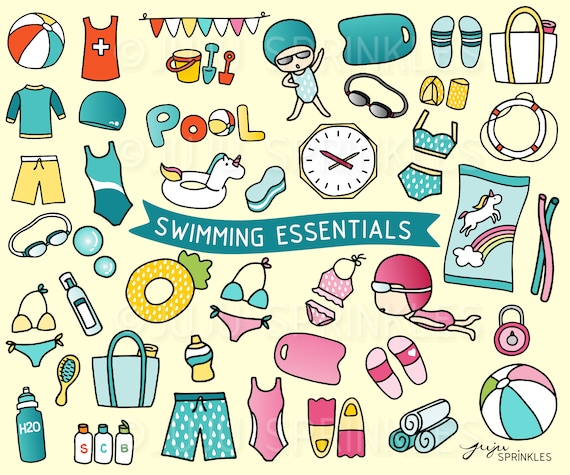 Schwimmen Clipart Schwimmbad Clipart Strand Clipart | Etsy