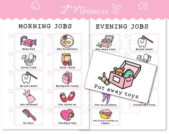Kids Chore Chart Printable, Kids Routine Chart, Girl Chore Chart, Daily Routine Chore Chart, Positive Behavior Chart, Girl Chore Chart