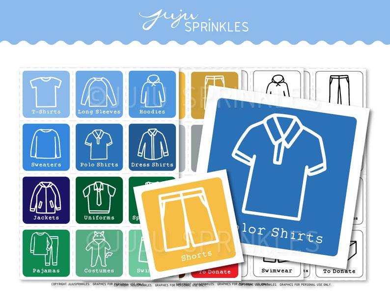 Kids Clothes Organizers  Kids Clothing Labels  Printable image 0