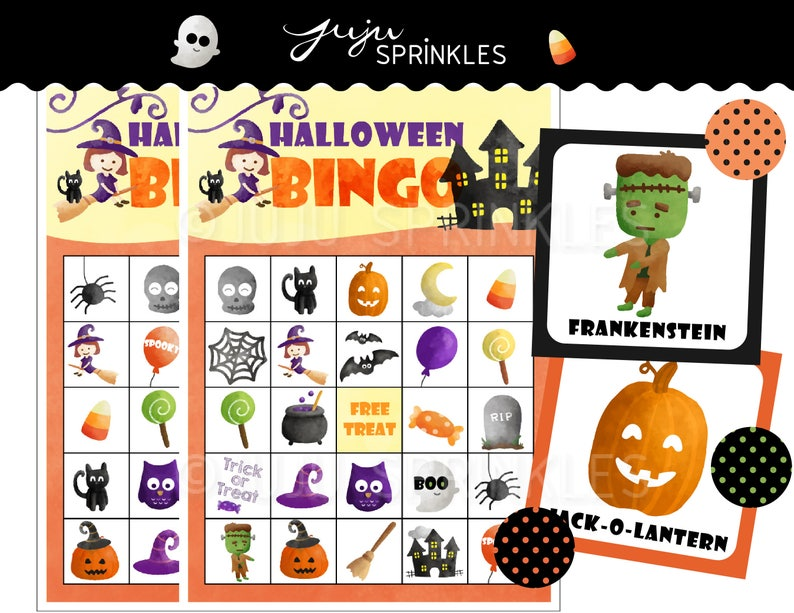 image about Halloween Bingo Printable called Halloween Bingo Playing cards Printable - Halloween Game titles - Halloween Social gathering Game titles - Fast Down load - Halloween Actions - Halloween Printables
