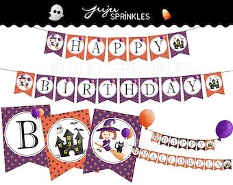 Halloween Birthday Banners, Halloween Party Printable, Halloween Kids Party Decoration, Halloween Decor, Instant Download