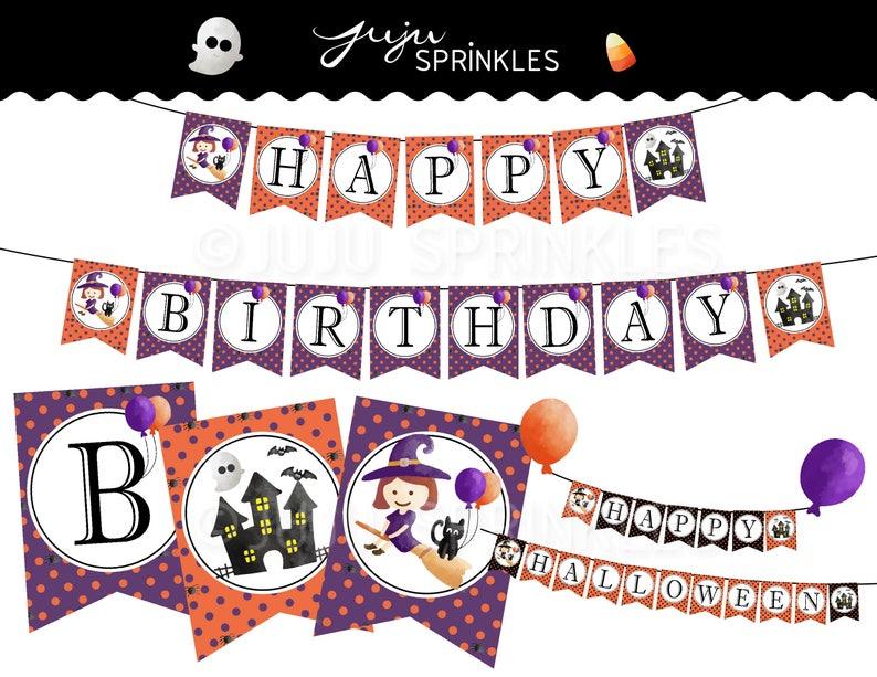 Halloween Birthday Banners Halloween Party Printable image 0